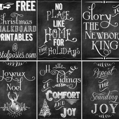 FIVE FREE Christmas Chalkboard Printables