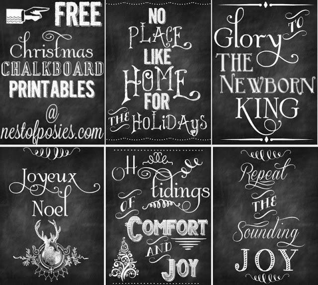 FIVE FREE Christmas Chalkboard Printables