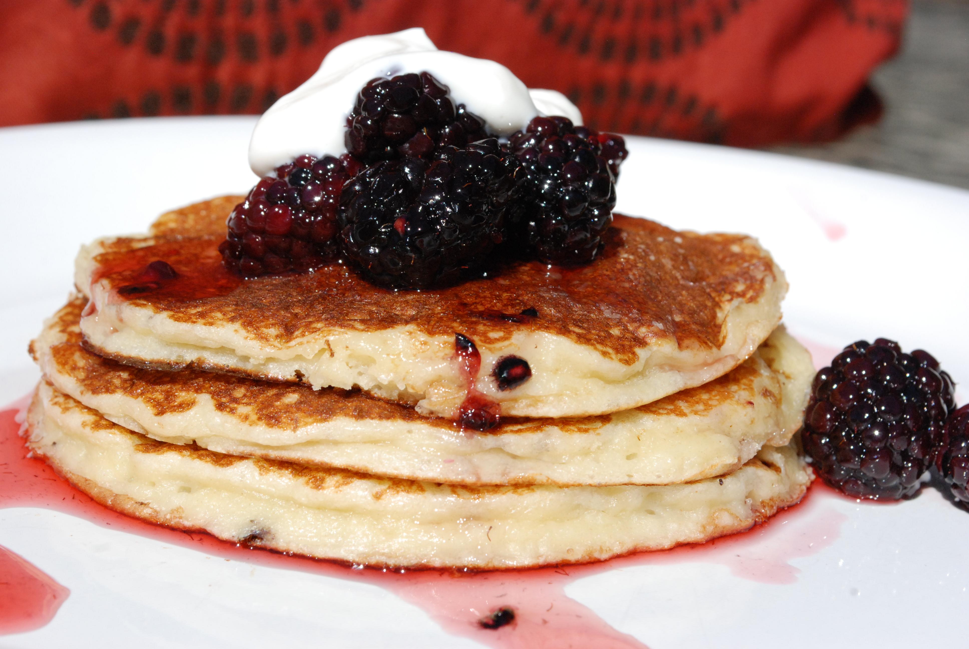 ... Pancakes with Blackberry Honey Syrup and Greek Yogurt Sweet Cream