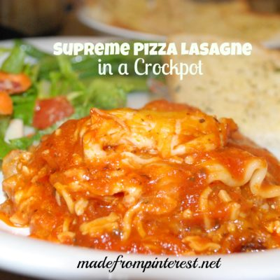 Supreme Pizza Lasagne in a Crockpot