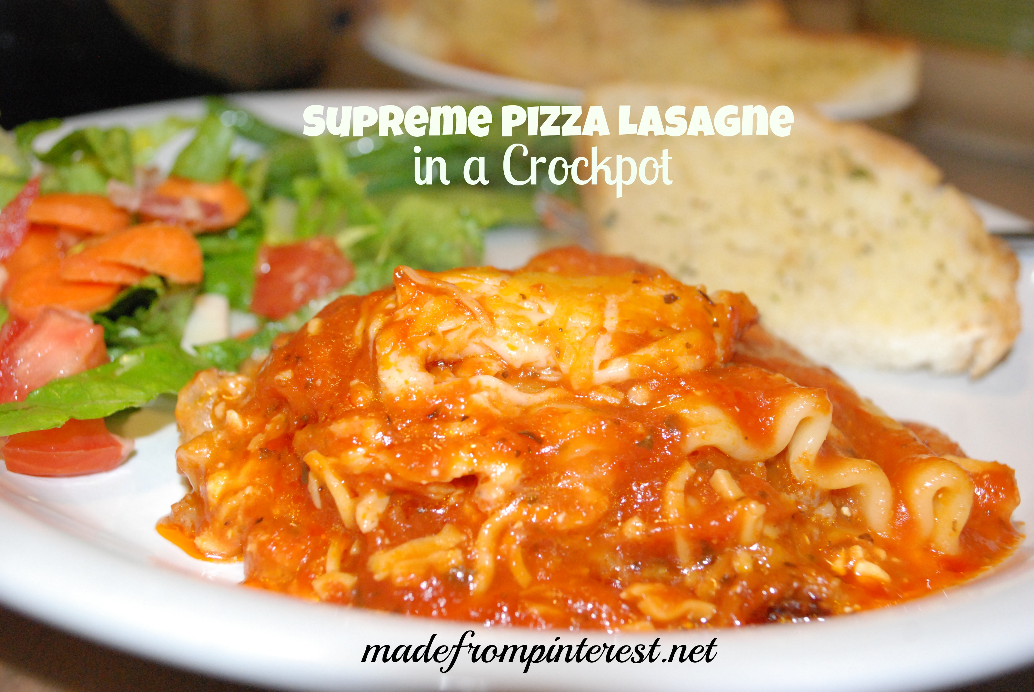 Supreme Pizza Lasagne in a Crockpot | madefrompinterest.net