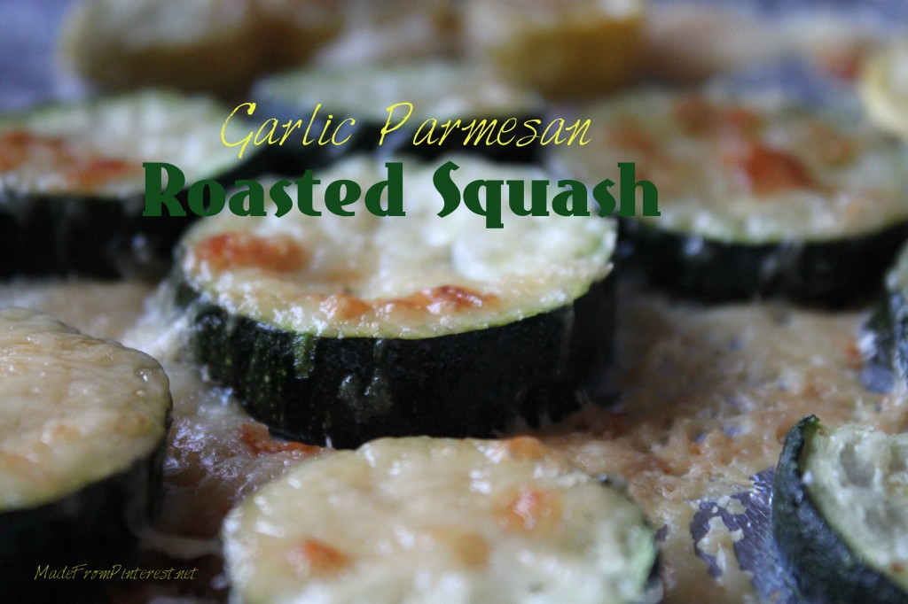 Eating your veggies can be fun! The aroma from this recipe fills the kitchen and brings everyone to the table. Garlic Parmesan Roasted Squash Medallions MadeFromPinterest.net