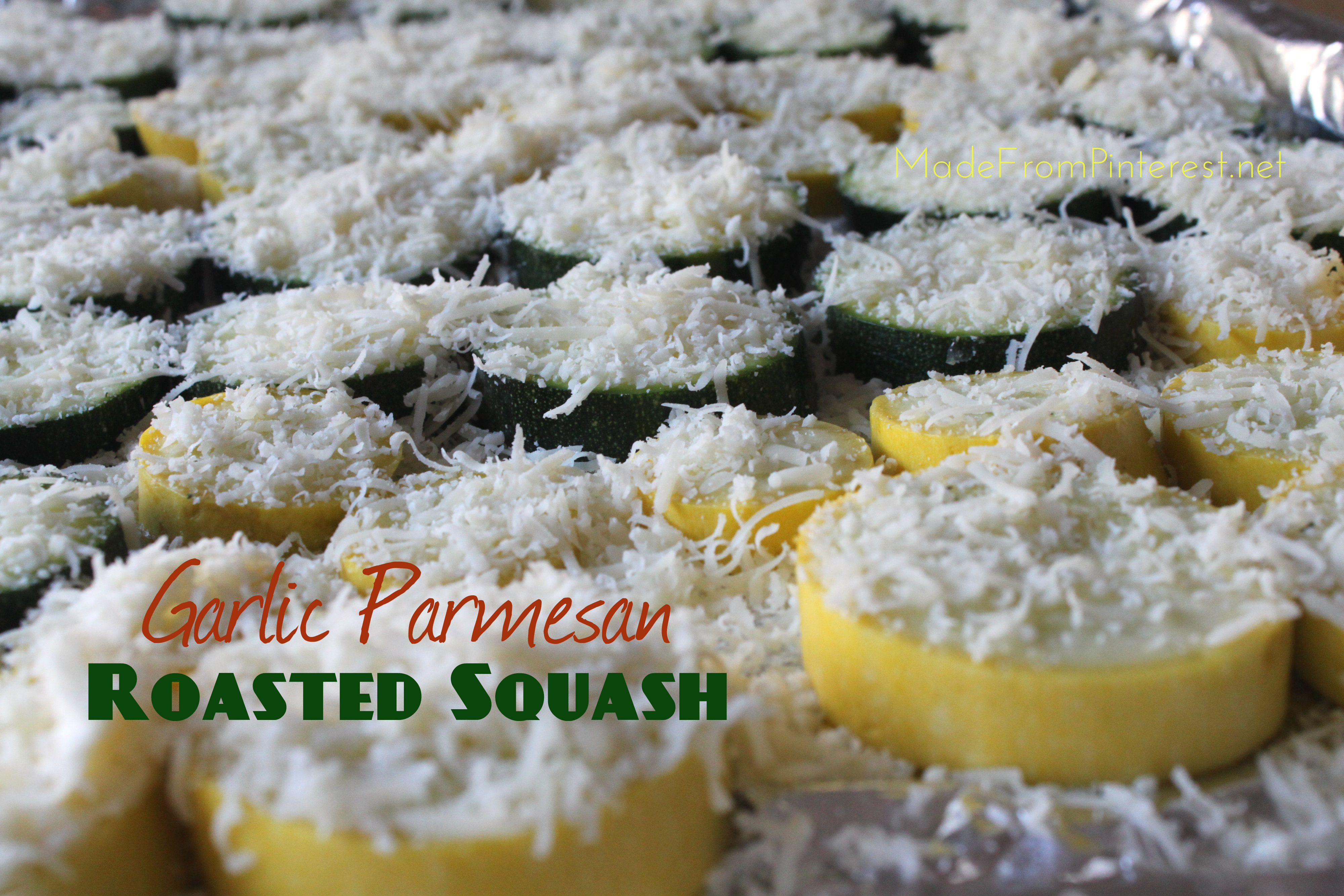 Garlic Parmesan Roasted Squash recipe at MadeFromPinterest.net