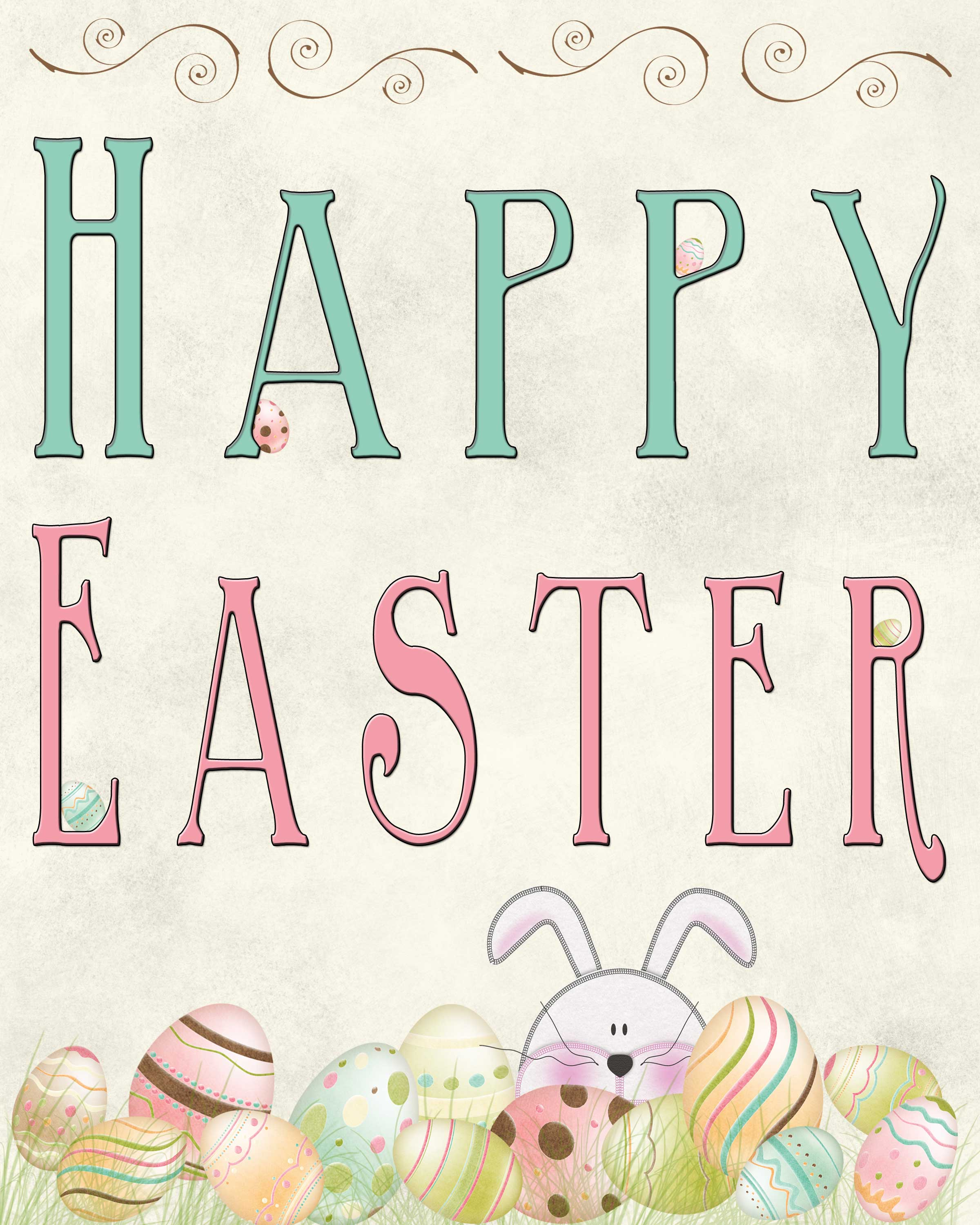 Vibrant image pertaining to happy easter printable