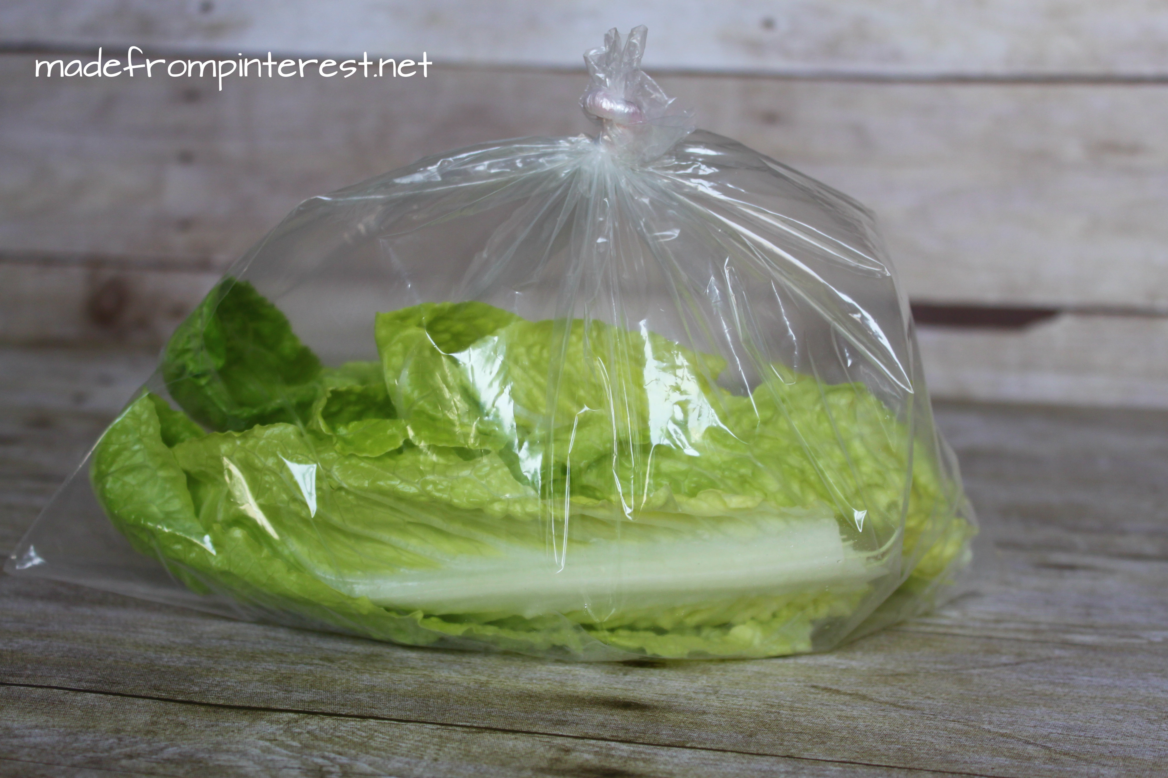 Madefrompinterest.net lettuce storage contest. Blowing air in a bag was a runner up