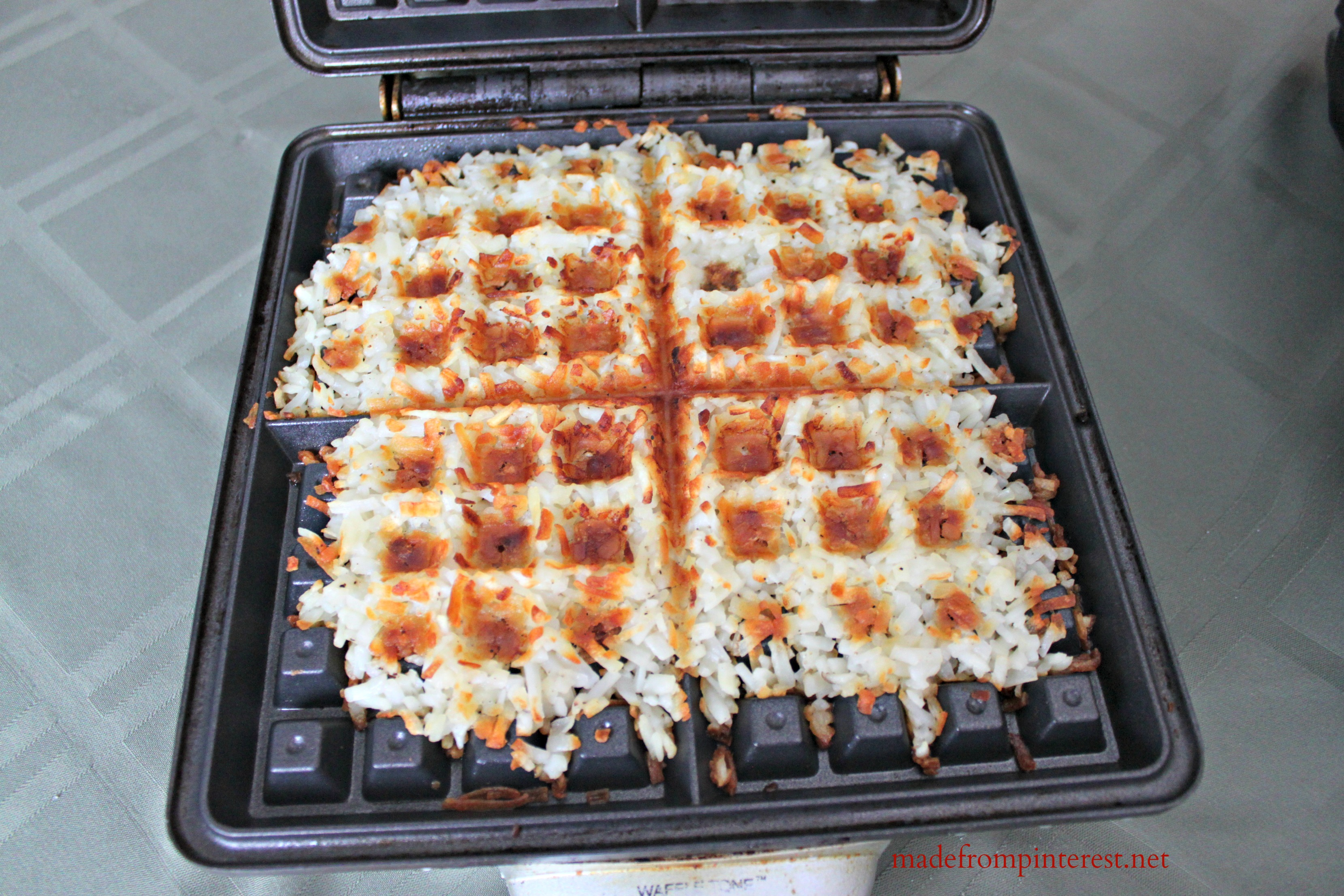 waffle iron hash brown method @madefrompinterest.net