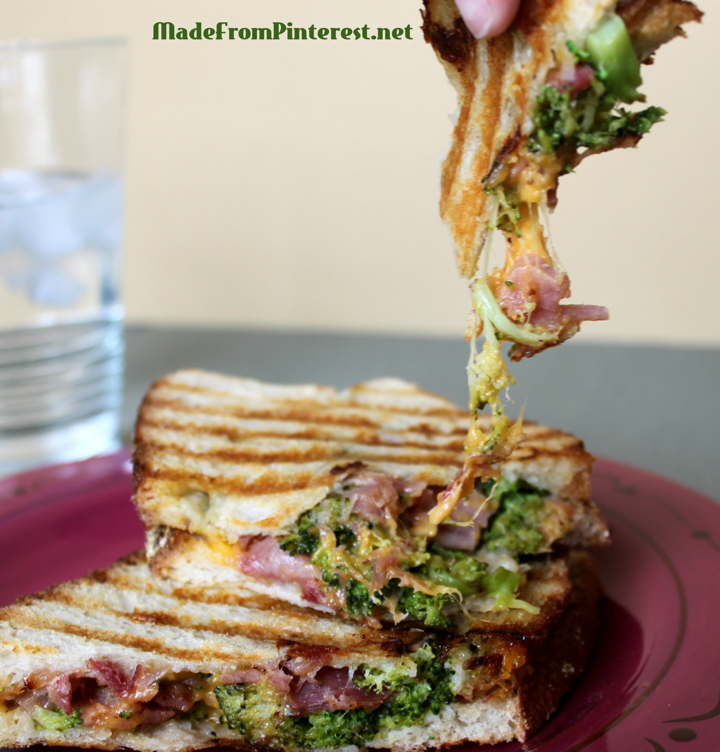 Broccoli Ham and Cheddar Panini MadeFromPinterest.net