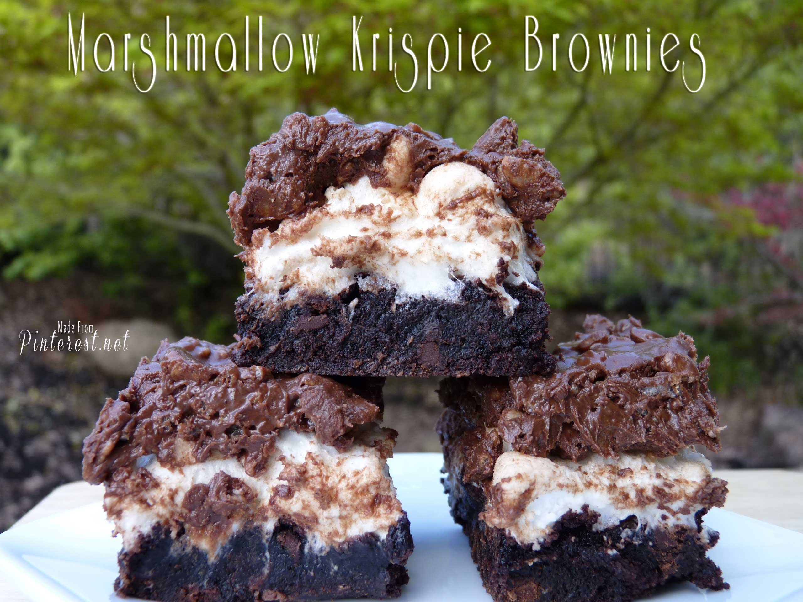 Marshmallow Krispie Marshmallow Browinies #Brownies #Marshmallow #Rice Krispies
