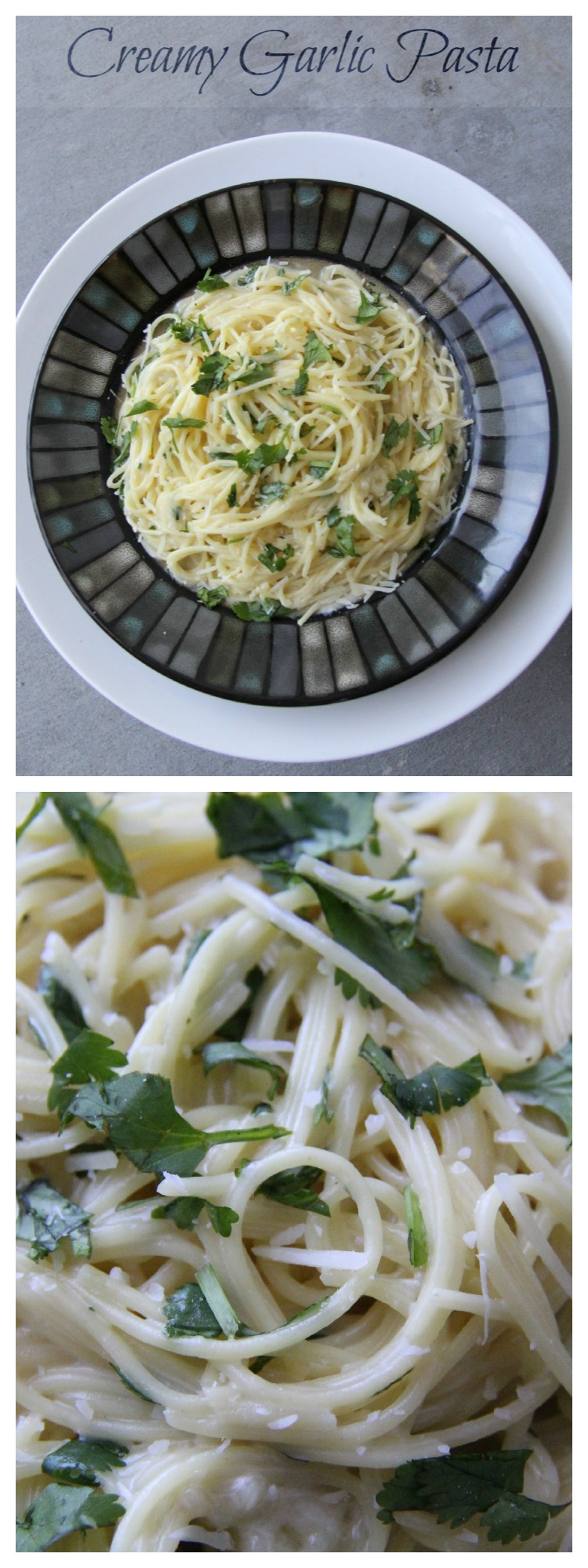Creamy #Garlic #Pasta Collage - If you need a garlic fix then this recipe is for you! It is a fast easy meal! Tested first by MadeFromPinterest.net