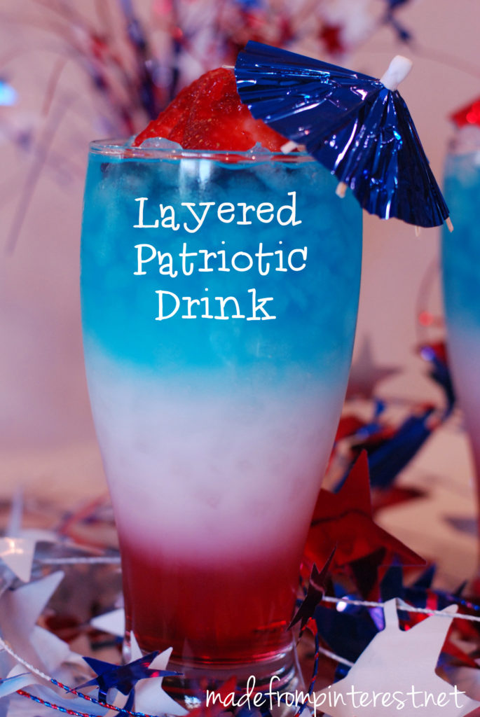 Layered Patriotic Drink for Memorial Day Weekend.  However you can use different colors too!  madefrompinterest.net