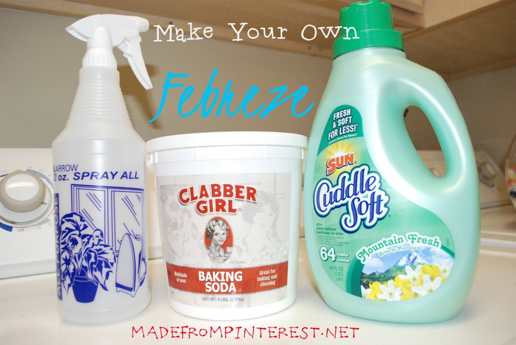 Make Your Own Febreze for approx $.15 a bottle! madefrompinterest.net
