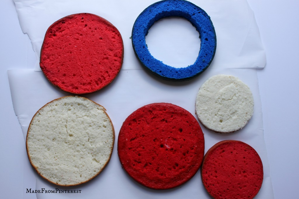American flag cake components. Tutorial from sisters at MadeFromPinterest
