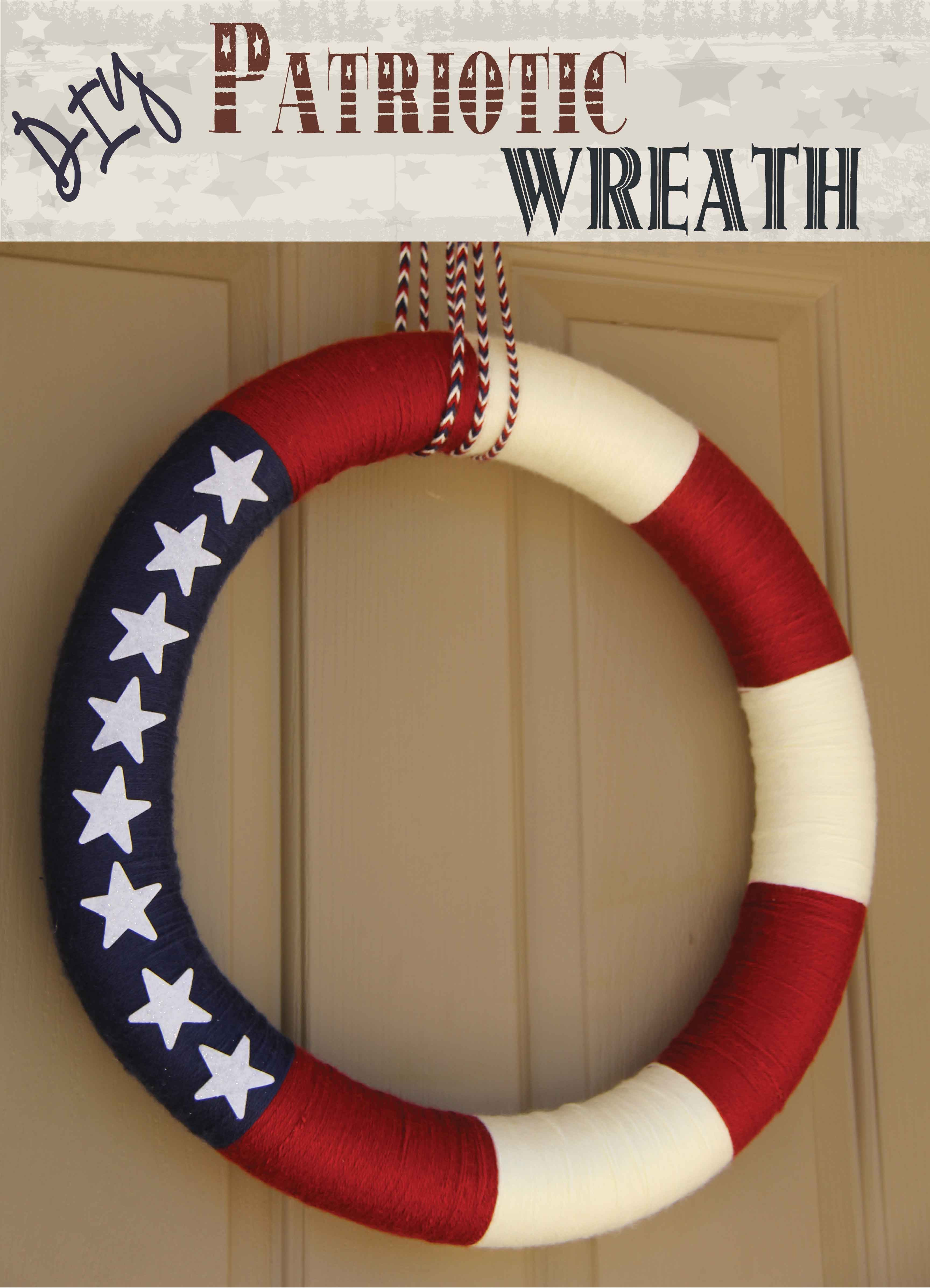 DIY #Patriotic Wreath - I made this #wreath in a few hours with a pool noodle, yarn and some foam stars. Easy peasy! Tested and reviewed by one of the 3 crazy sisters at: http://www.thisgrandmaisfun.com