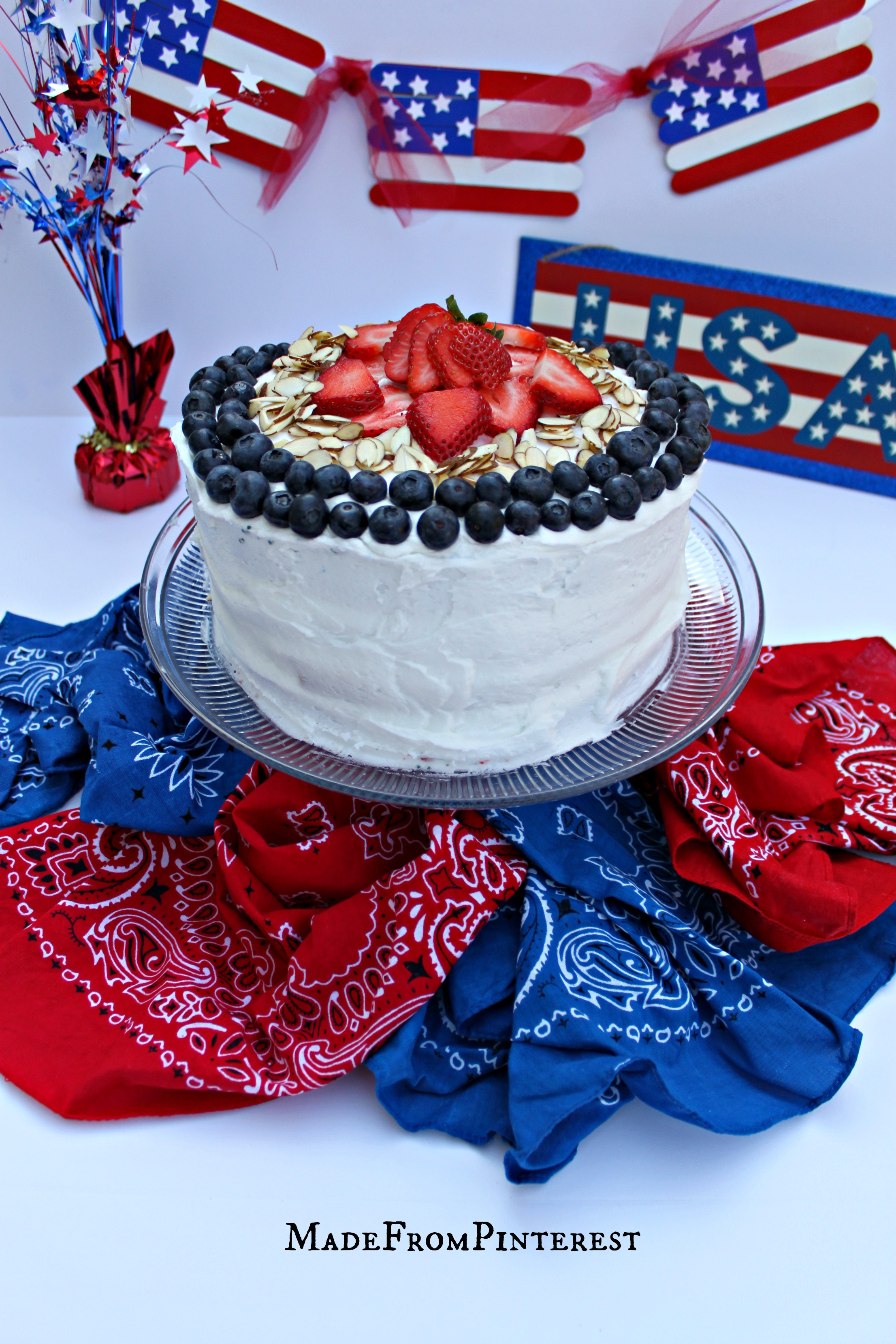 American Flag Cake Strawberries Blueberries