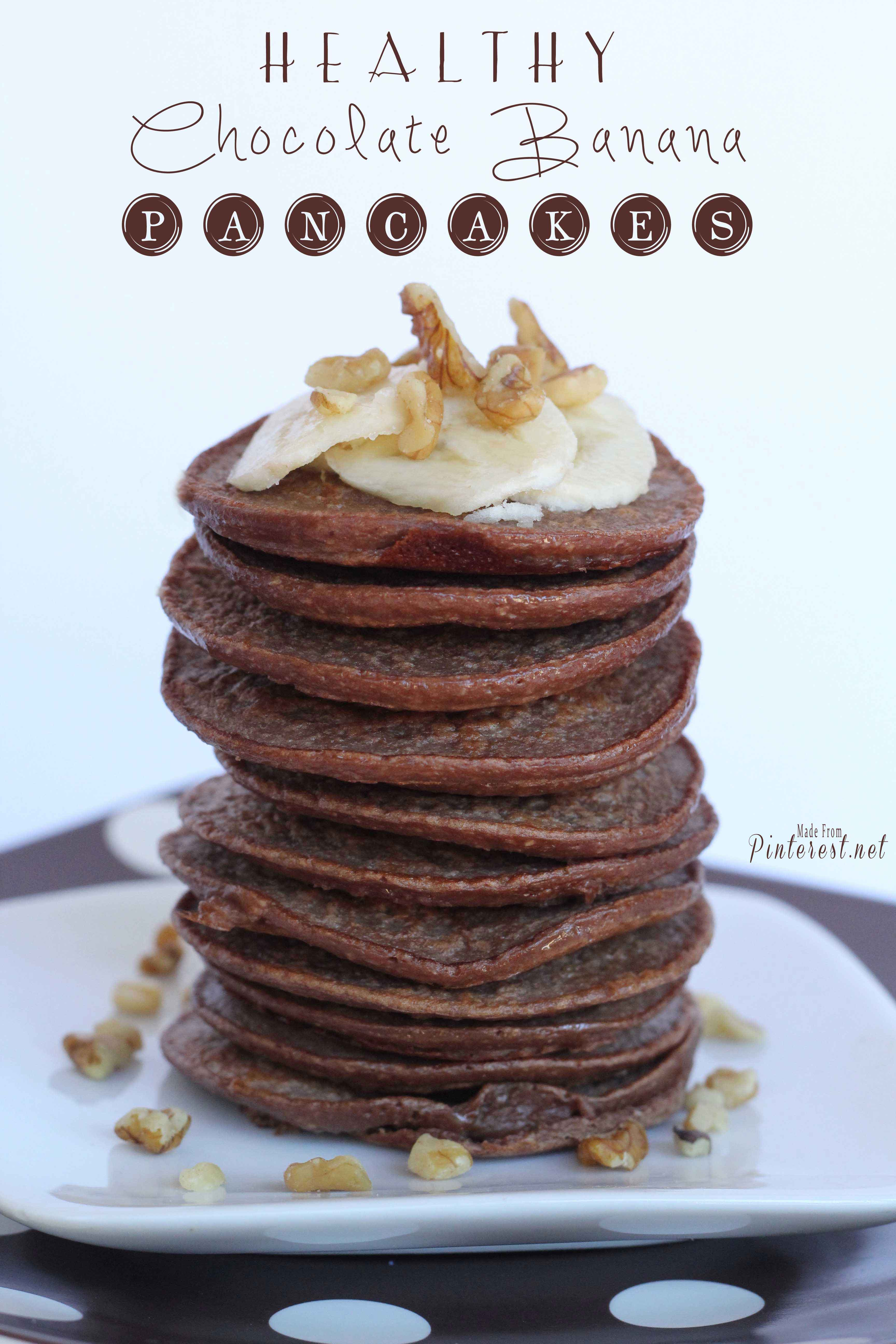 Healthy Chocolate Banana Pancakes - Tested and reviewed by one of the 3 crazy sisters at https://www.thisgrandmaisfun.com