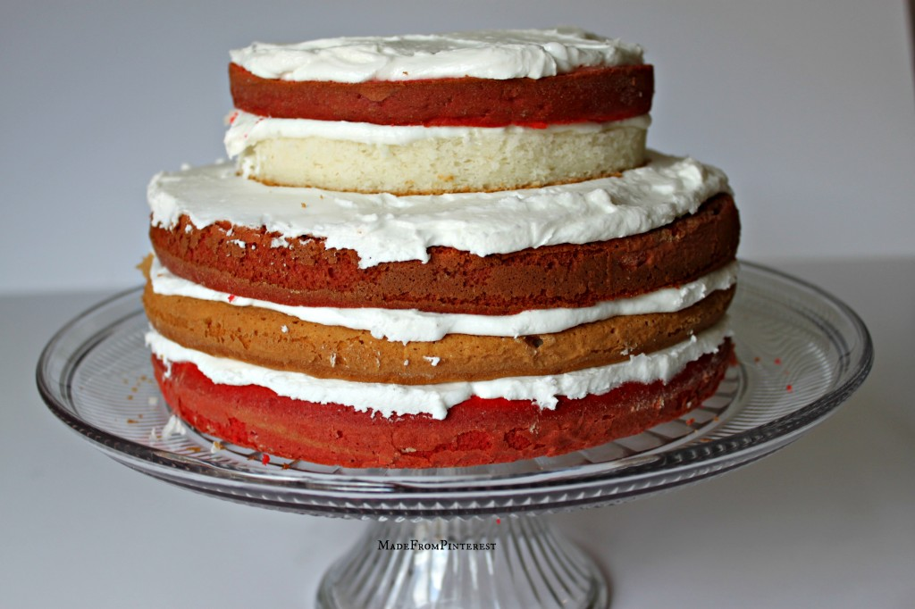 Red and white layers for American Flag Cake. Tutorial from sisters at MadeFromPinterest
