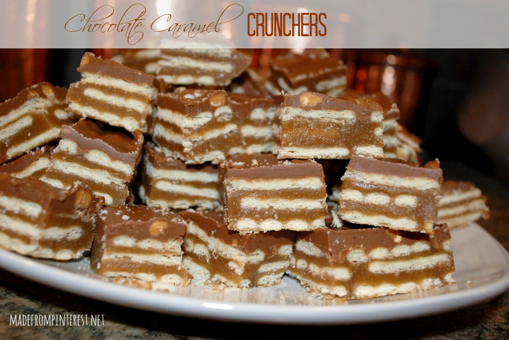 Butter crackers deliver the crunch and the chocolate and caramel make these decadent! madefrominterest.net
