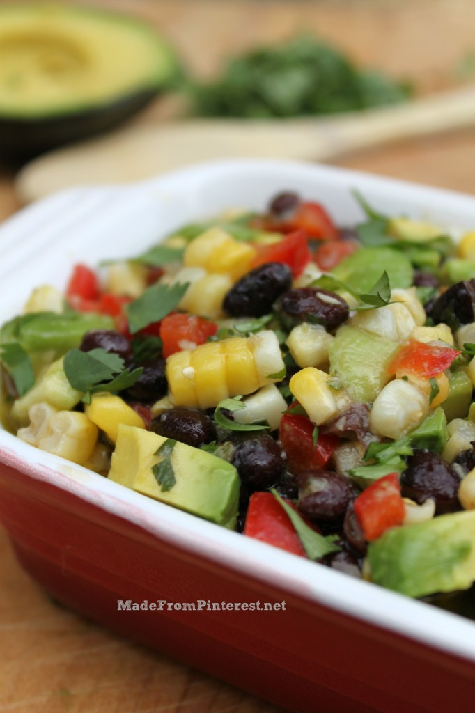 Corn and Black Bean Salsa with Lime Cilantro Vinaigrette. This is the ...