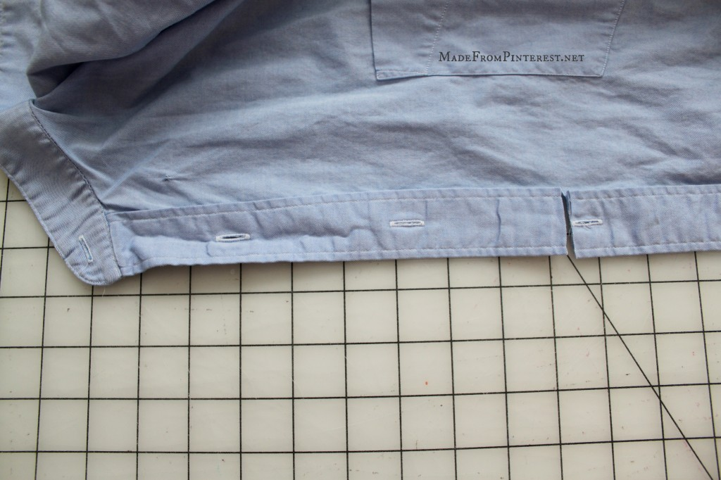 Pioneer shirt-Cut the shirt just above the third button hole.