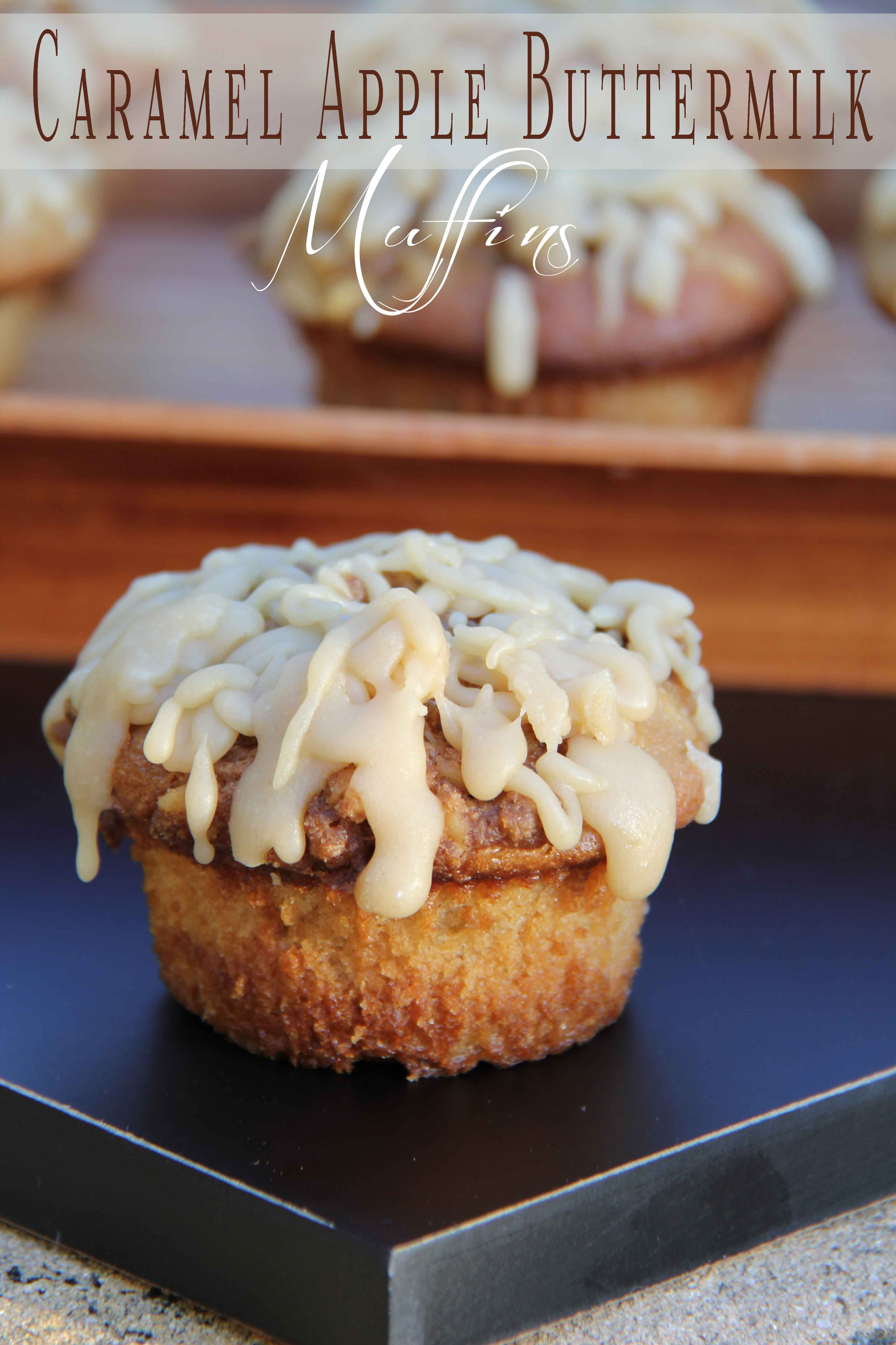 Caramel Apple Buttermilk Muffins -  I don't make homemade muffins very often. But that is going to change! My husband LOVED these! They are perfect to put in the kids lunches. #Recipe #Muffin #Caramel