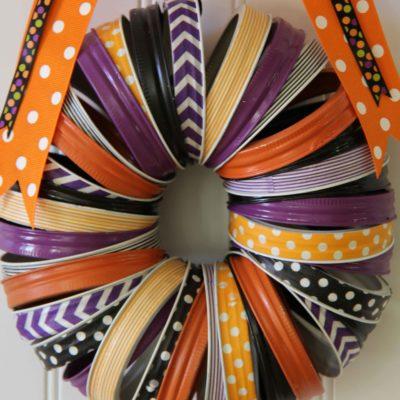 Halloween Washi Tape and Mason Jar Rings Wreath