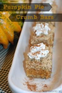 Perfect fall dessert  - Pumpkin Pie Crumb Bars.  madefrompintereest.net