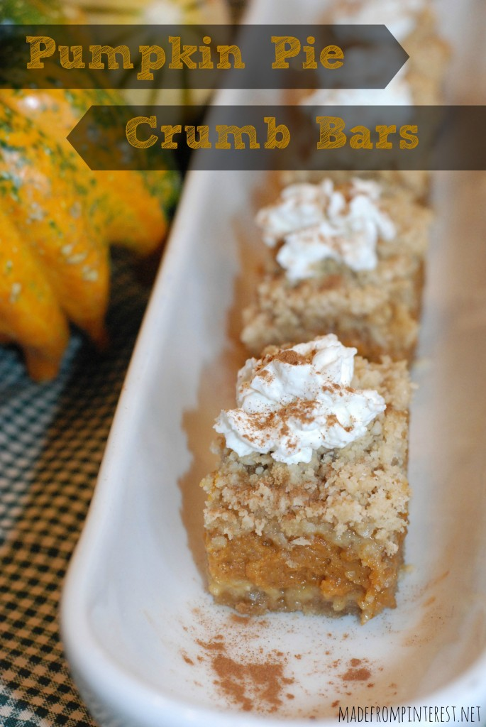 Perfect fall dessert - Pumpkin Pie Crumb Bars. madefrompintereest.net