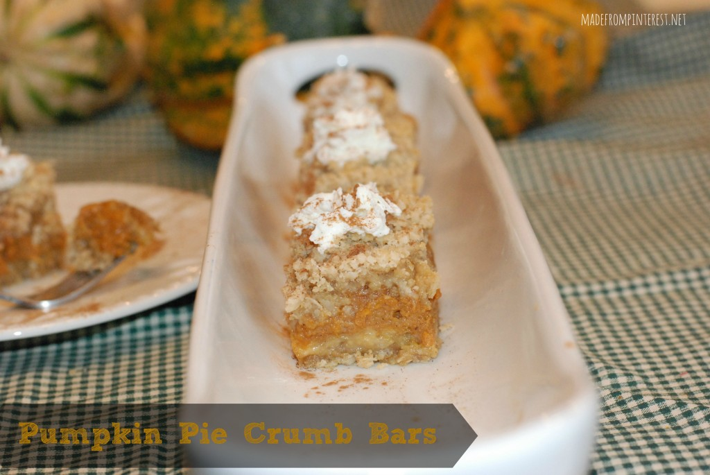 Pumpkin Pie Crumb Bars. madefrompinterest.net
