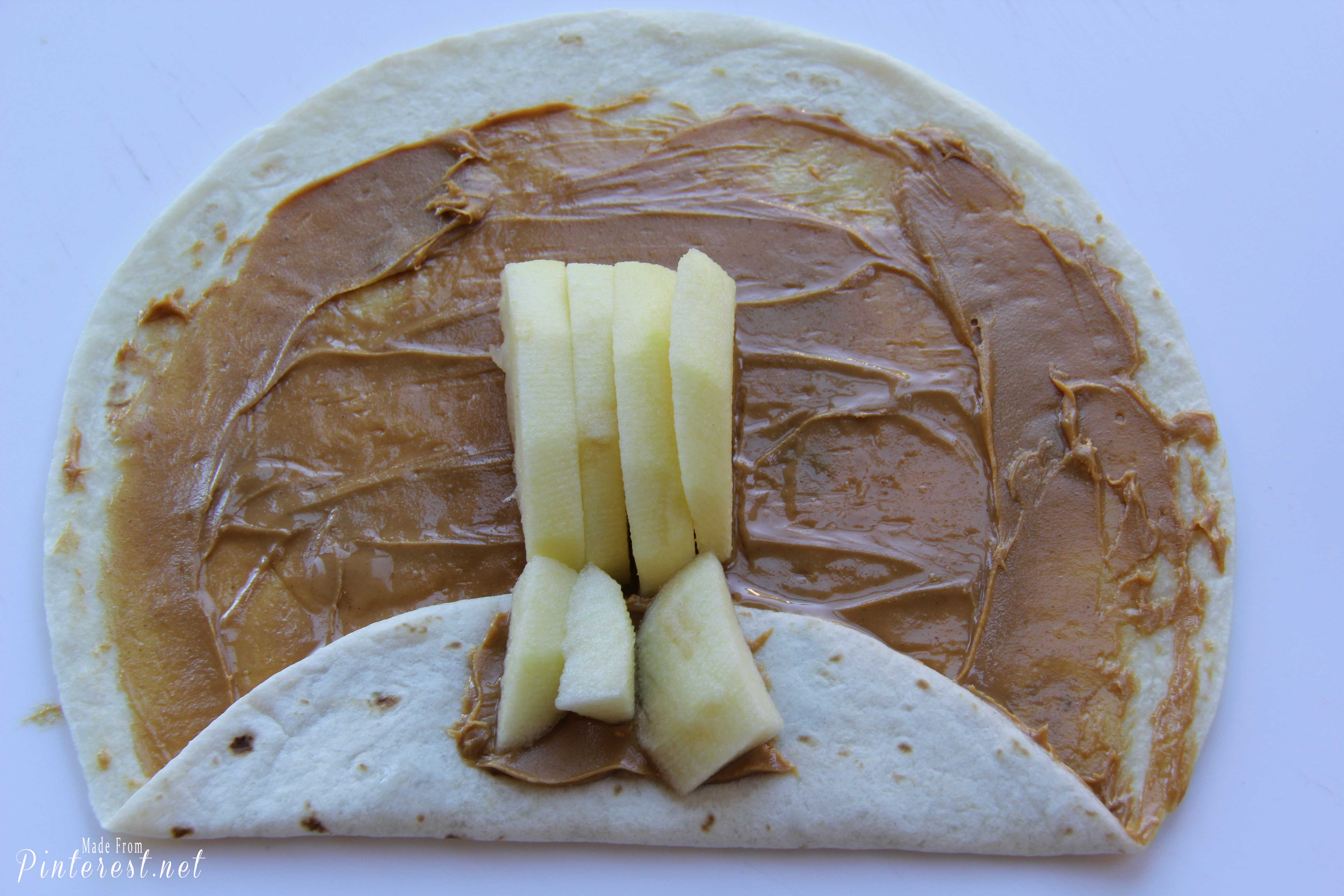 Slumber Party Snacks - Hard to believe that something this darling can also be healthy. The tortillas have peanut butter and apples for the filling! Your kids will LOVE them! #Snacks #Appetizers #Party #Recipe