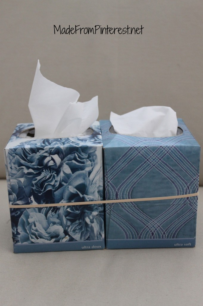 Hard to tell which box is the one to throw tissues away or get a fresh one