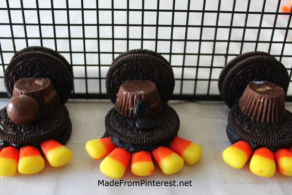 Oreo Turkeys  Attaching whoppers for the head