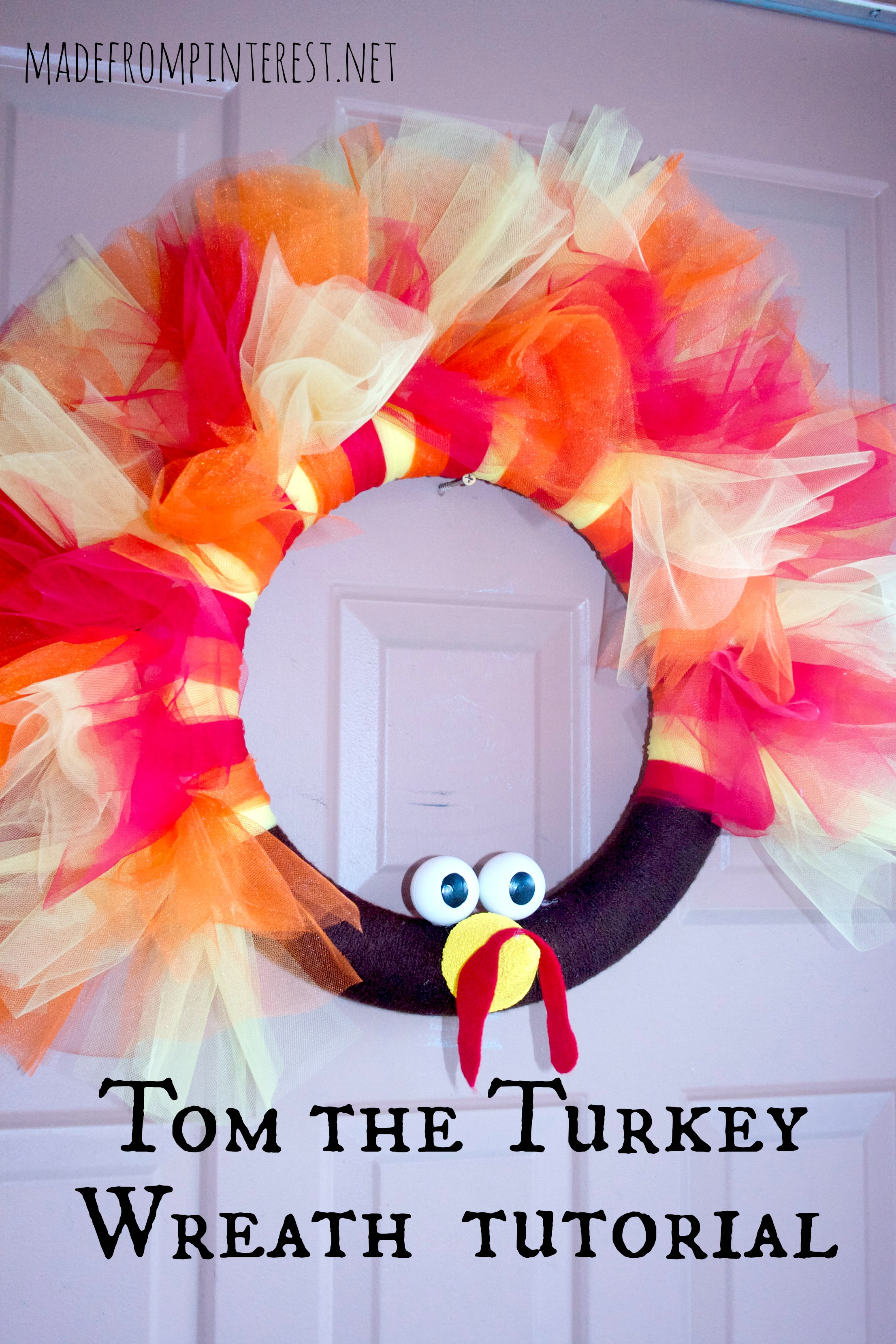 Thanksgiving wreath tutorial tgif this grandma is fun create this darling turkey wreath to greet your thanksgiving guests when they arrive from madefrompinterest kristyandbryce Image collections