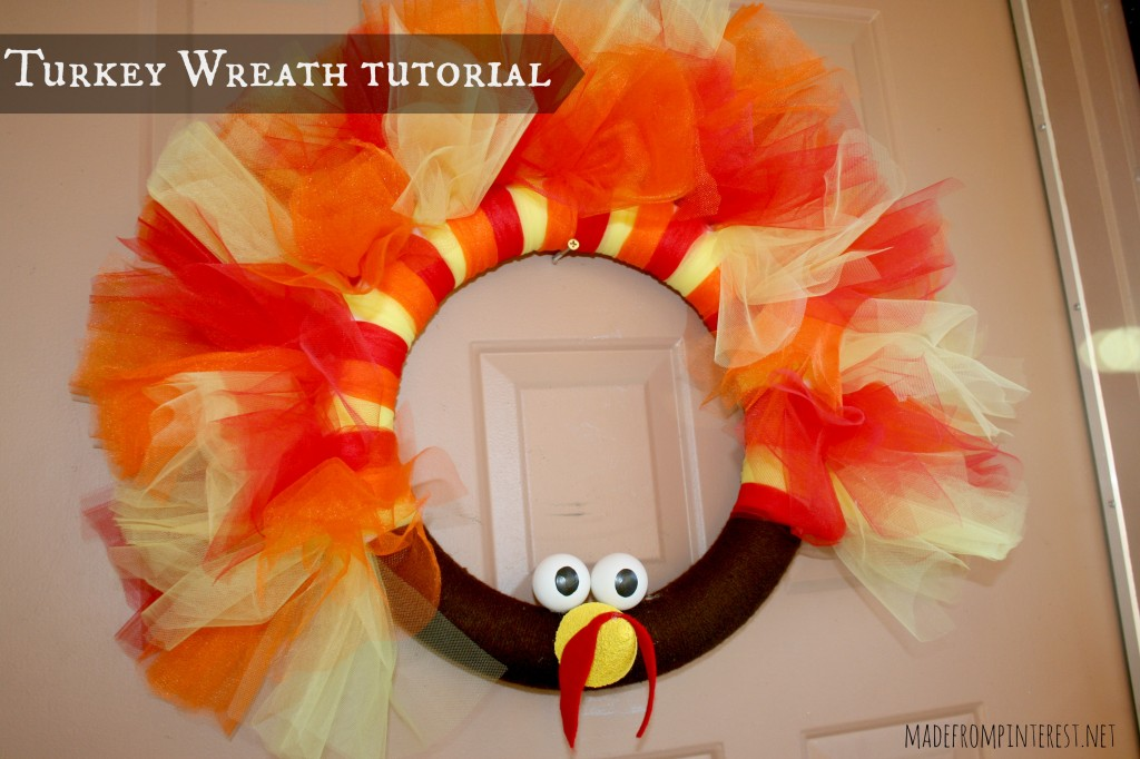 Look at this darling turkey wreath tutorial that I found at MadeFromPinterest.net!