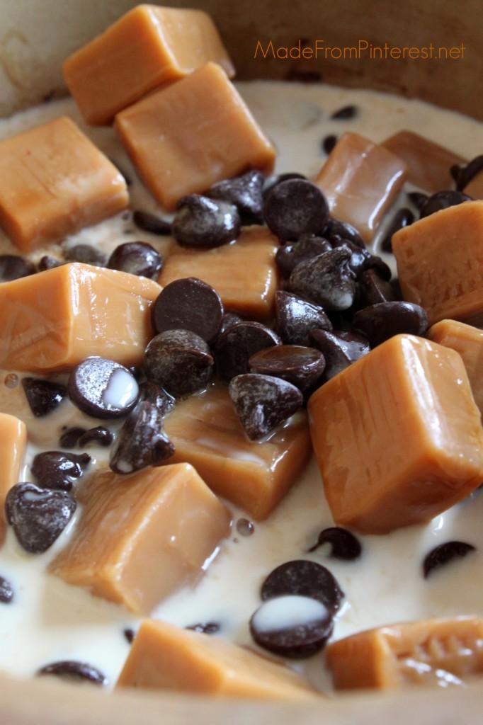 Easy Chocolate Caramel Fondue - Caramel squares, chocolate chips and ...