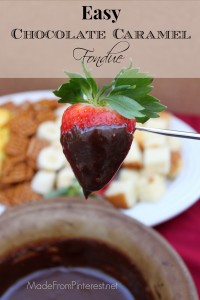 Chocolate Caramel Fondue - Caramel squares, chocolate chips and condensed milk cook into dipping perfection.