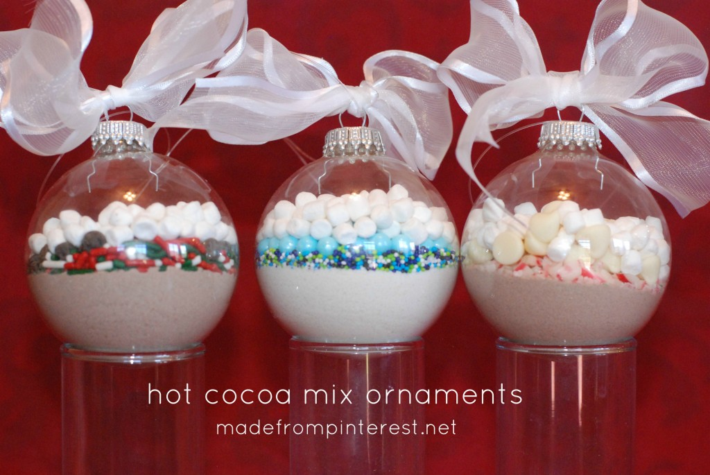 Hot Cocoa Mix Ornaments.  Super quick to make