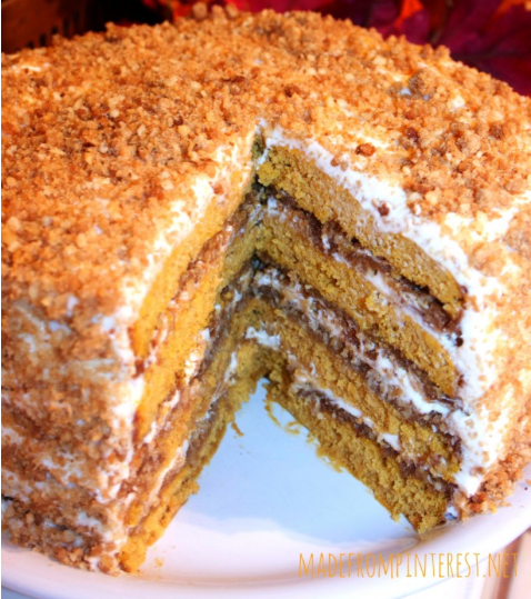 Pumpkin Crunch Cake with Cream Cheese Frosting - Pumpkin Crunch Cake with Cream Cheese Frosting - Made and tested by 3 Pinterest crazy sisters! This cake totally ROCKS!
