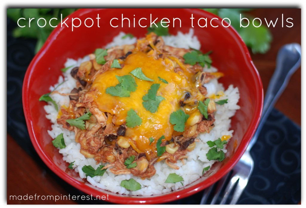 Crockpot Chicken Taco Bowls. Easy peasy, lemon squeezy!
