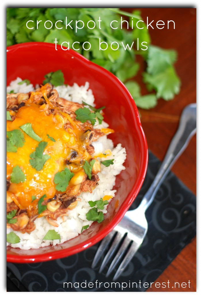 Crockpot Chicken Taco Bowls. So easy!