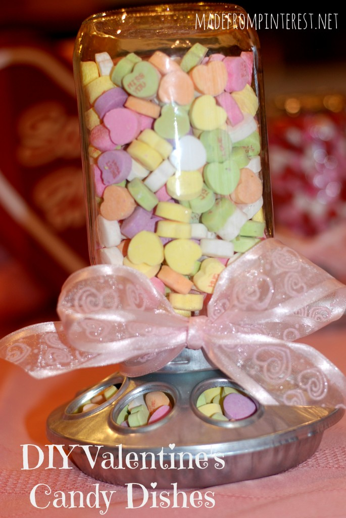 DIY Valentine's Candy Dishes. Made out of chick feeders!