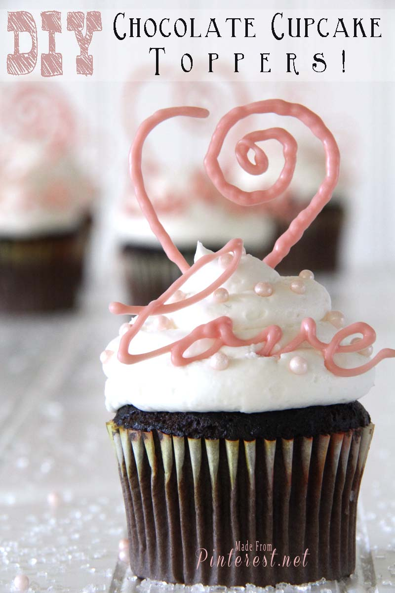 Valentines Day Idea - DIY Chocolate Cupcake Toppers! - Great way to turn a plain cupcake into a beautiful Valentines Day Treat. I cheated and used store bought cupcakes! Free Printable Included! #Valentines Day #Cupcake #Dessert