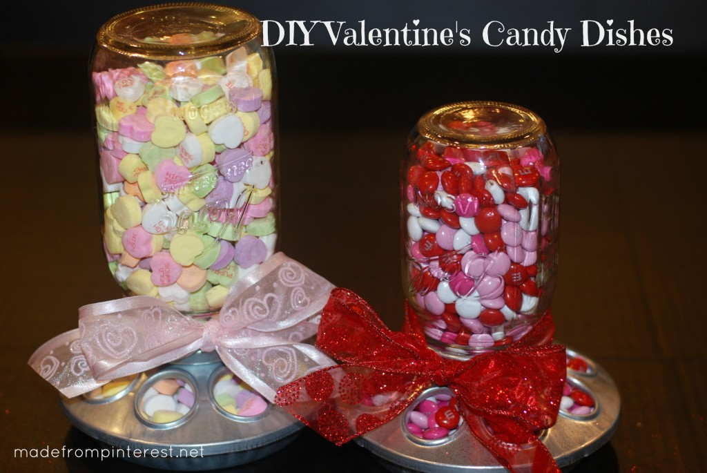 Make these darling Valentine's Candy Dishes with mason jars and chick feeders!
