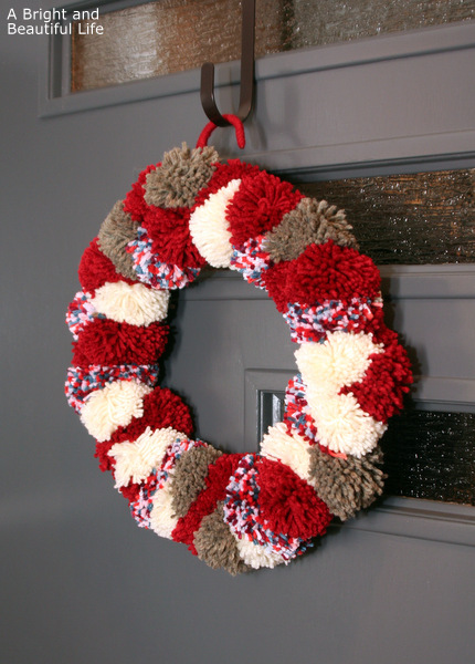 A Bright and Beautiful Life winter pom wreath