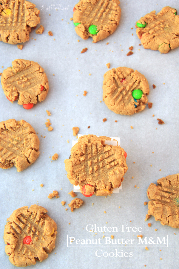 Gluten Free Peanut Butter M&M Cookies - Oh my, these are truly amazing, I thought I would never have a great peanut butter cookie after going gluten free. You have got to make these! #Recipe #Gluten Free #Peanut Butter Cookie