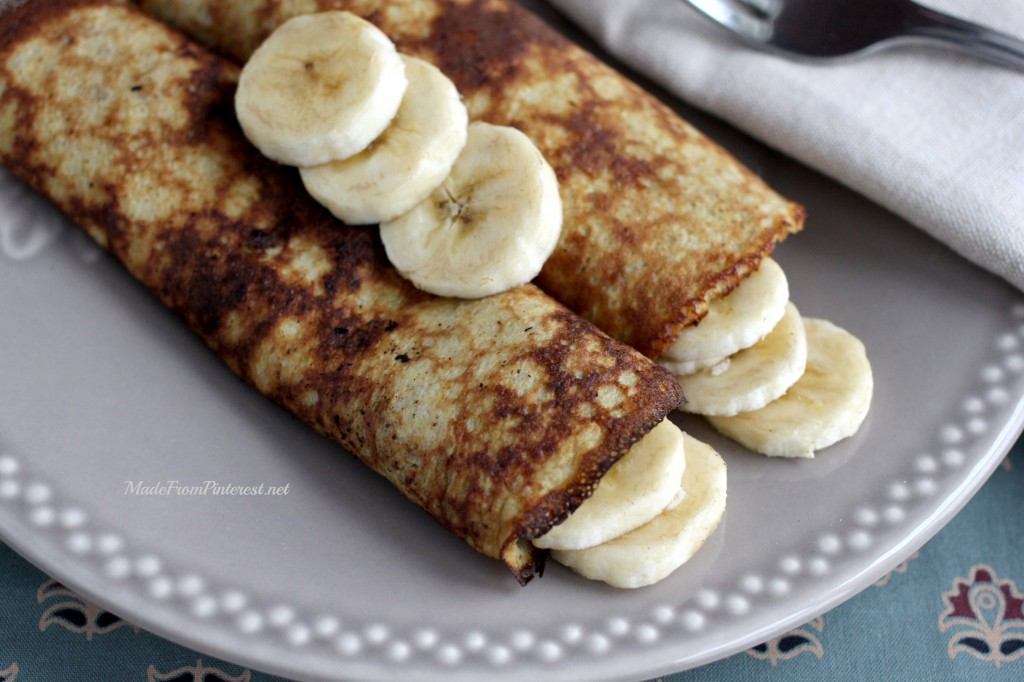 These 2 Ingredient Pancakes are more like crepes. Delicious healthy breakfast!