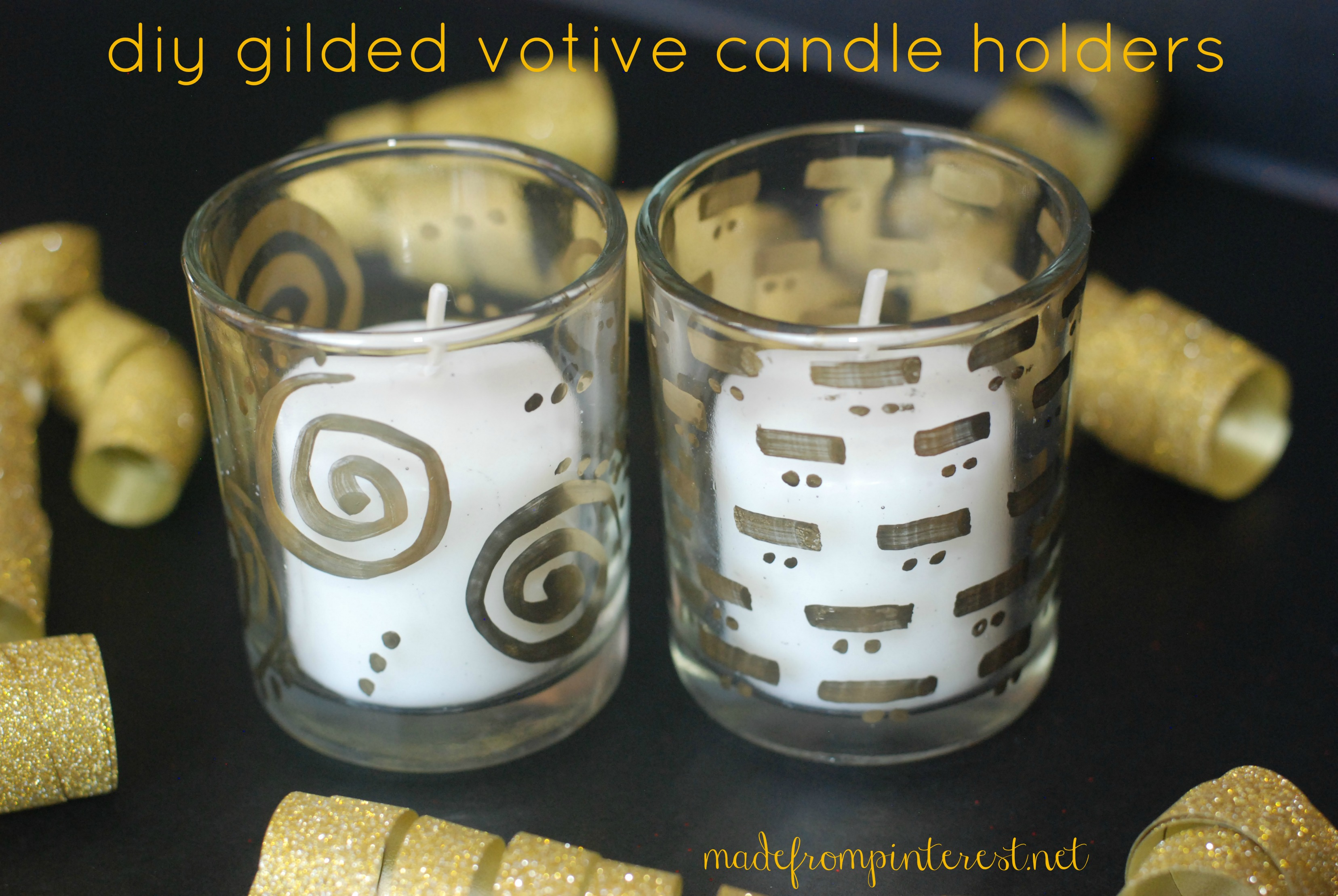 Diy gilded votive candle holder tutorial tgif this for Homemade votive candles