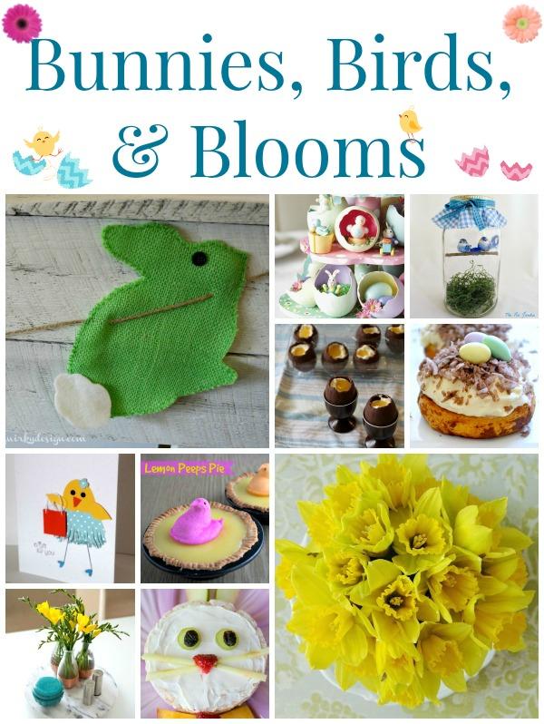 Bunnies Birds Blooms Collage