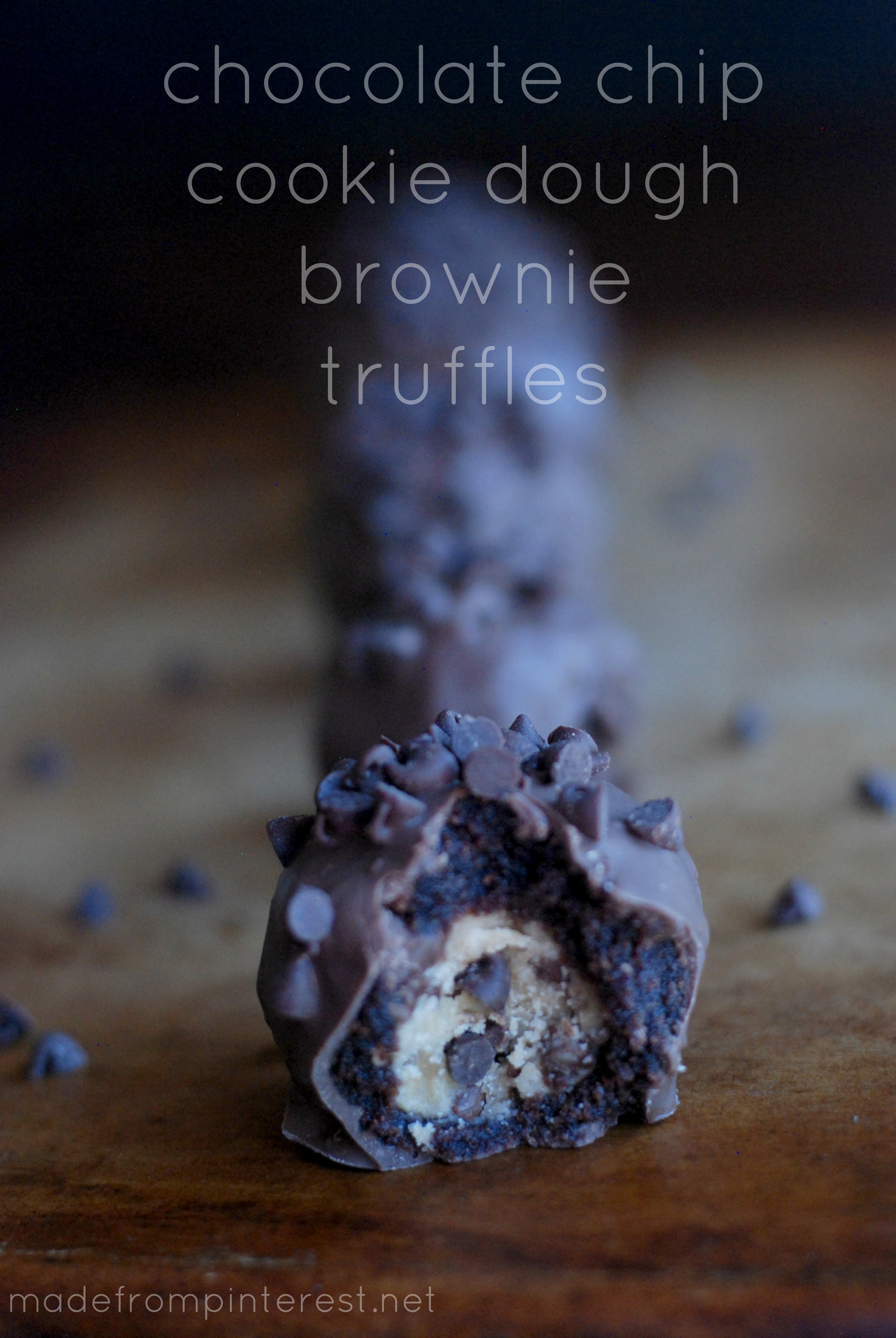 Chocolate Chip Cookie Dough Brownie Truffles. Chocolatey, rich and ...