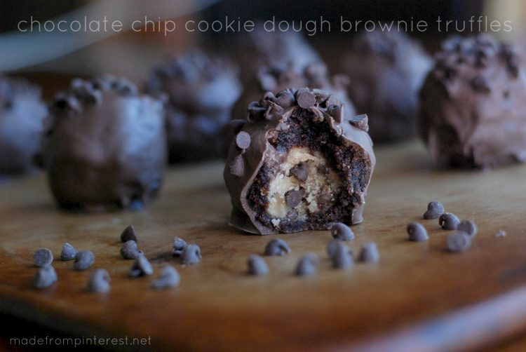Chocolate Chip Cookie Dough Brownie Truffles - TGIF - This Grandma is Fun