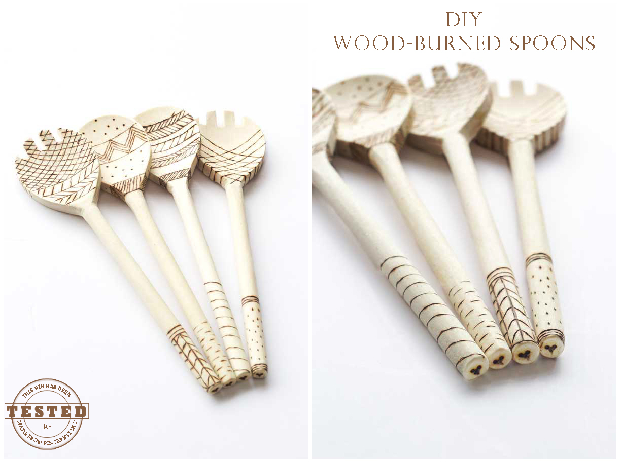 DIY Wood-Burned Spoons - I can't believe how easy and fun it was to make these darling wooden spoons from Darby Smart! I can't wait to make my next set.